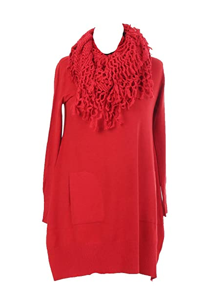2c7af8d0a4 Italian Ladies Lagenlook Knitted Jumper Top Dress Mesh Scarf One Size 14-20  (Crimson)  Amazon.co.uk  Clothing
