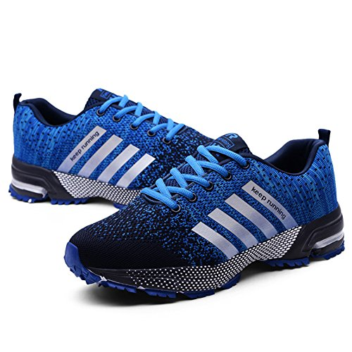 Walking Athletic Gym Trainers Causal Outdoors Shoes Running Sneakers Men's Sports Knit Lightweight HONGANG Shoes Blue wSTq7Y