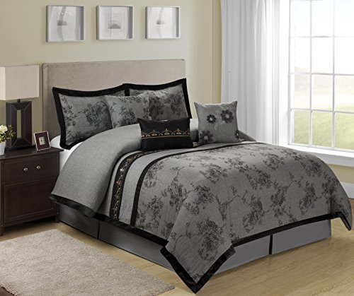 7 Piece Shasta Gray Bed In A Bag Comforter Sets Queen King Size King Bedroom Store
