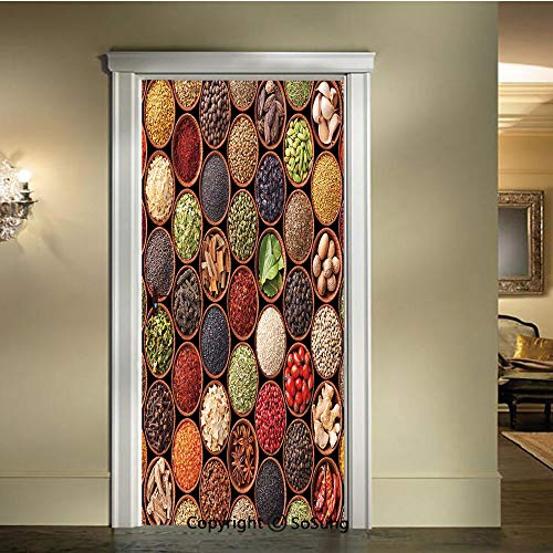 baihemiya Modern Art 3D Door Sticker,Colorful-Herbs-and-Spices-Cardamom-Pepper-Chili-Ginger-Dill-Natural-Cuisine-Print,W30.3xL78.7inch,Removable Door Decal for Home DecorMulticolor