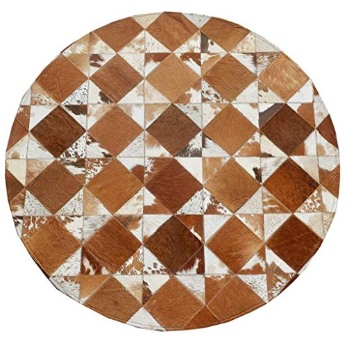 - NMSL Cowhide Stitching Round Carpet Bedroom Living Room Personality Creative Geometric Pattern Simple European Household Rug (Brown White Plaid) (Size : Diameter 160CM)