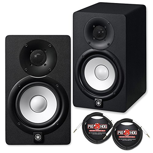 Yamaha HS5 Powered Studio Monitor Pair Bundle with Two Monitors, TRS Cables, and Austin Bazaar Polishing Cloth, Bundle w/ Cables, HS5