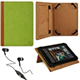 Green - Brown VG Elegant Book Cover Portfolio Jacket Carrying Case with Built In Pull Out Stand for Archos 80 Cobalt 8GB Android 8-inch HD Tablet + Black Handsfree Hifi Noise Isolating Stereo Headphones with Windscreen Microphone and Soft Silicone Ear Tips