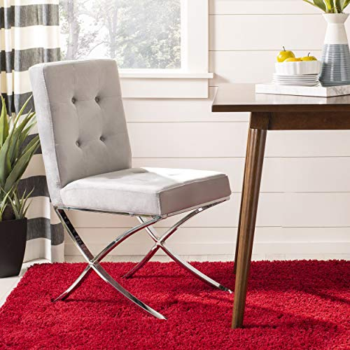 (Safavieh FOX6300D Home Collection Walsh Tufted Side Chair, Grey/Chrome )