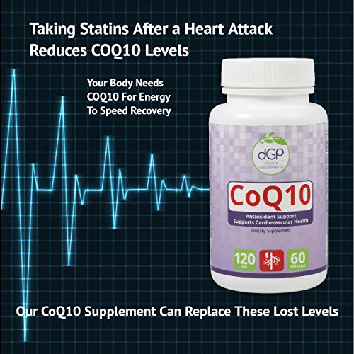 CoQ10 Anti-Oxidant supplement energy boost cell energy GMP Certified GMO Free Made in the USA 60 Capsules 120 mgs Discount