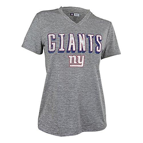 Zubaz NFL New York Giants Female Retro Zebra V-Neck T-Shirt, Gray, Medium