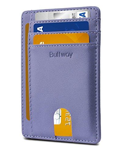 (Slim Minimalist Leather Wallets for Men & Women - Sand Wathet Blue)