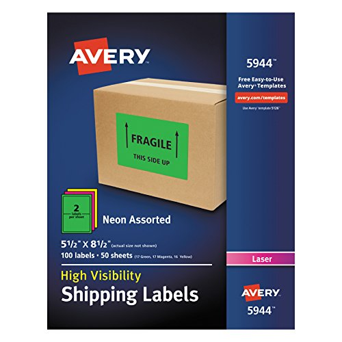 Avery High-Visibility Neon Shipping Labels for Laser Printers Assorted Colors, 5-1/2