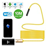 Newest Wireless Endoscope, 10M Yellow Semi-Rigid WiFi Borescope Inspection Camera 2.0 Megapixels HD Snake Camera for Android and iOS Smartphone, iPhone, Samsung, Tablet …