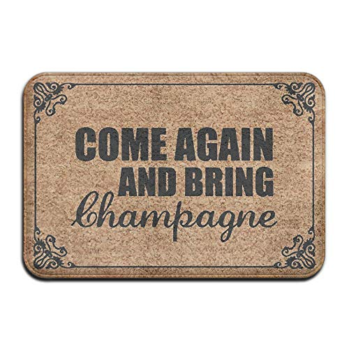 Huangwei 36x24inch Come Again and Bring Champagne Machine Washable Indoor Doormat Kitchen Area Rug Welcome Mat for Home -
