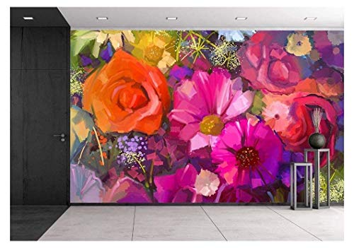 wall26 - Still Life of Yellow and red Colour Flowers .Oil Painting a Bouquet of Rose - Removable Wall Mural | Self-Adhesive Large Wallpaper - 100x144 inches