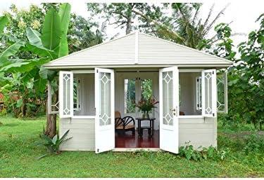 Jardín Hogar Casa Lino Gazebo caoba madera hogar Caseta bloque casa Mint: Amazon.es: Jardín