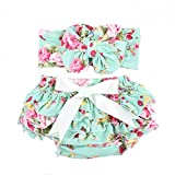 Baby girl's bloomer and headband set with big bow diaper covers glabloomer
