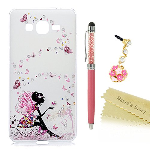 Grand Prime Case,Mavis's Diary 3D Handmade Spring Pink Butterfly Fairy with Bling Crystal Shiny Diamond Slim Fit Hard PC Cover for Samsung Galaxy Gran…
