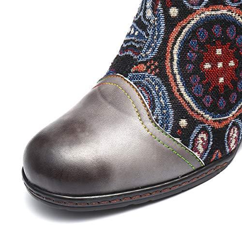 À Original Conforts Chaussures Pointu Gracosy Bottes Chelsea Bout Cuir Confortable Talons Design Hiver Hauts Boots Femmes Ville Gris De Colorées Boheme Bottines qBABIwU8