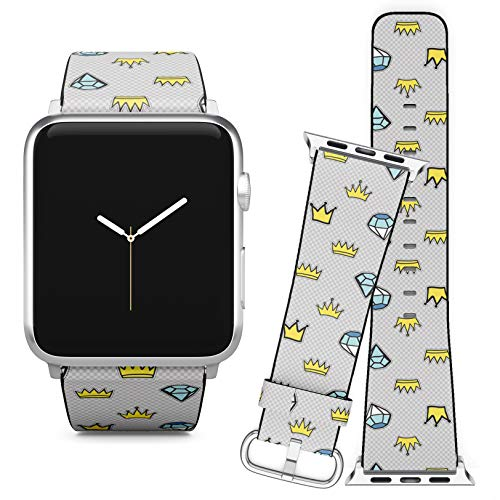 Compatible with Apple Watch iWatch (42/44 mm) // Leather Replacement Bracelet Strap Wristband + Adapters // Crown Diamonds