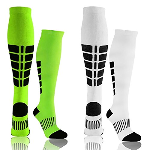 Compression Socks for Men &Women - Unisex Grid Sport Compression Socks (15-20mmhg) for Nursing/Travel/Running/Medical/Athletic Sports/Edema Medical Socks (White/Green, L/XL)