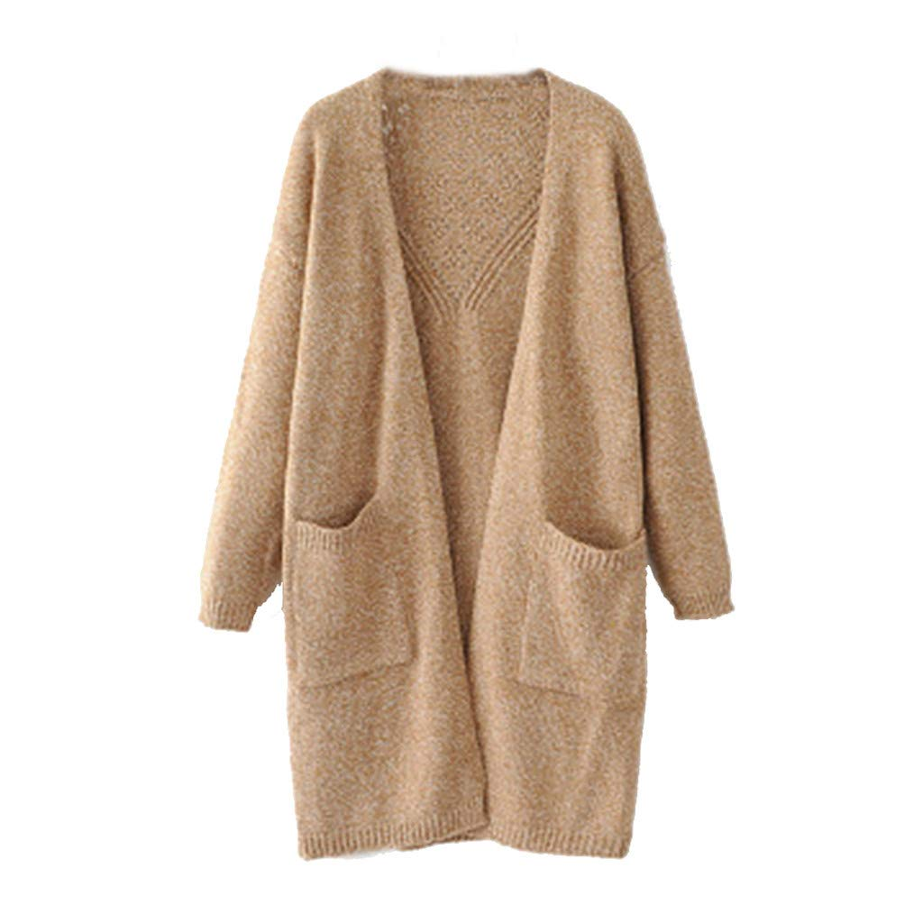 Fshinging Women Long Knitwear Coats Solid Open Front Cardigans Jumper Sweaters with Pocket Outwear Tops{Khaki} by Fshinging