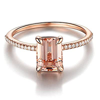 Luxury and Shining Rose Gold Engagement Ring with A Fine Small Square Zircon Ring: Clothing