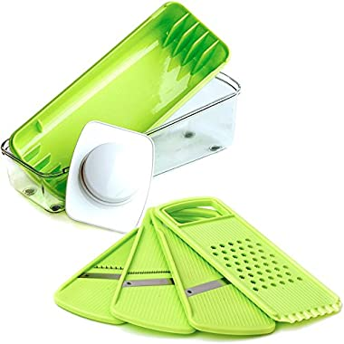 Mandoline Slicer - Food Slicer - Vegetable Slicer - Julienne Slicer - Premium Stainless Steel Blades - Food Safe Plastic - Compact, Lightweight & Versatile - Healthy Meals