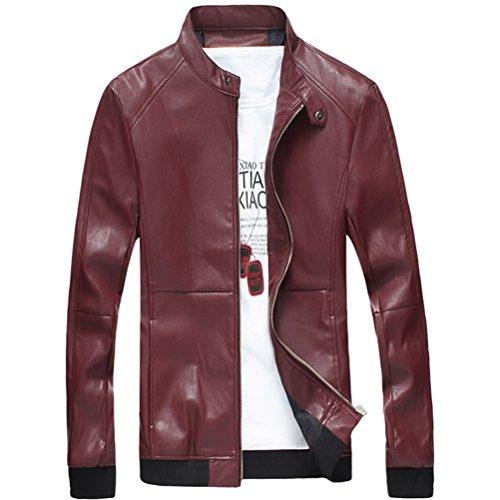 Leather Outerwear Mens Windbreaker Moda Jackets Sleeve Pu Red Long Zhhlaixing g5Tn0vwx8w