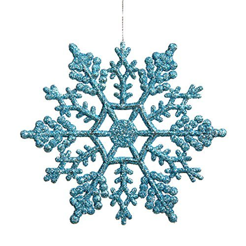 Vickerman Club Pack of 24 Turquoise Blue Glitter Snowflake Christmas Ornaments 4