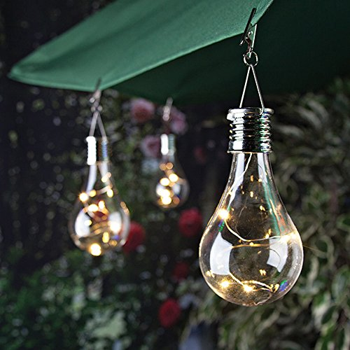 Maikouhai Solar Light Bulb, Waterproof Solar Rotatable Outdoor Garden Camping Hanging LED Light Lamp Bulb LED Bulb Night Light Nightlight - 1.2V, 0.6W, 5 LED ()