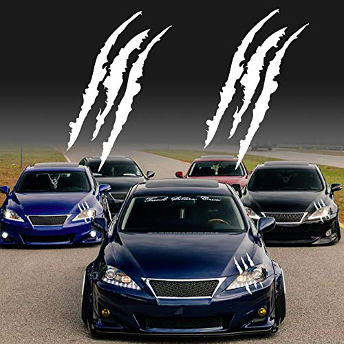 KE-KE Claw Marks Decal Reflective Sticker Waterproof Headlight Decal Vinyl Sticker Decal for Sports Cars 2PCS (White)