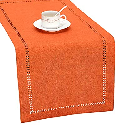Grelucgo Handmade Hemstitch Orange Thanksgiving Table Runner Or Dresser Scarf, Fall Autumn Decorations(14 x 72 Inch) - Simple design but looks very delicate 100% hand-hemstitch instead of machine-hemstitch Can be customized to table runner, placemats, napkins, tablecloth of any size; matching cushion covers also available - table-runners, kitchen-dining-room-table-linens, kitchen-dining-room - 51wfH5%2Be8KL. SS400  -