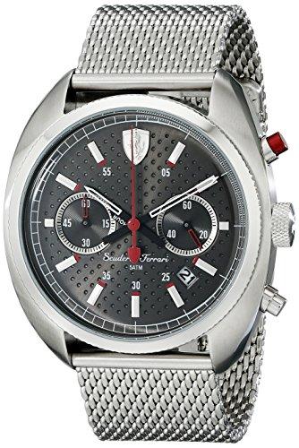 Sportivo Mens Stainless Steel Watch - Ferrari Men's 830214 Formula Sportiva Analog Display Quartz Silver Watch