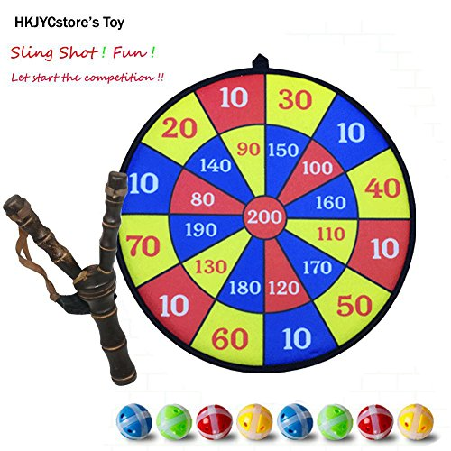 Wooden Crotch / Fork / Sling Shot with 8 Pieces target balls with Score board ()