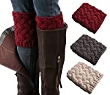 3 Pairs Women Short Boots Socks Crochet Knitted Boot Cuffs Short Leg Warmer (winered,darkgray,beige)