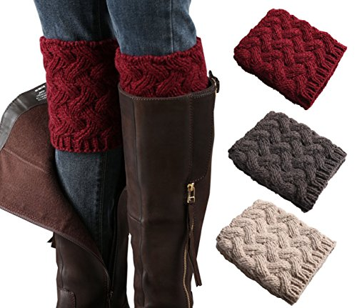 3 Pairs Women Short Boots Socks Crochet Knitted Boot Cuffs Short Leg Warmer (winered,darkgray,beige) -