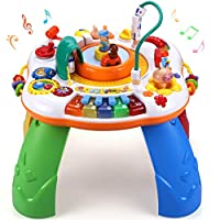 Sytle-Carry Learning Activity Table Baby Toys - Musical Educational Discovering Toys Sit and Stand and Play Activity Center