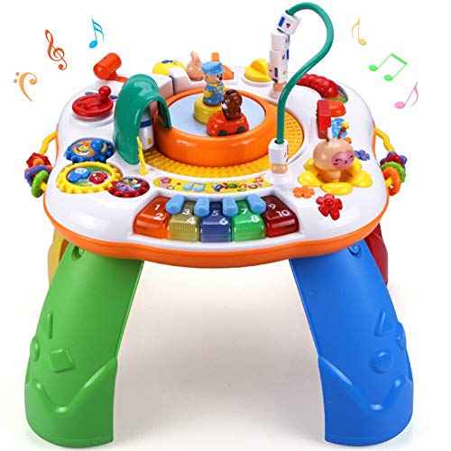 Sytle-Carry Learning Activity Table Toddler Toys - Music Activity Center Game Table Baby Toys 6 to 12 Months Sit to Stand Play Table Toys for 1 2 3 Years Old Boys Girls Birthday Gifts