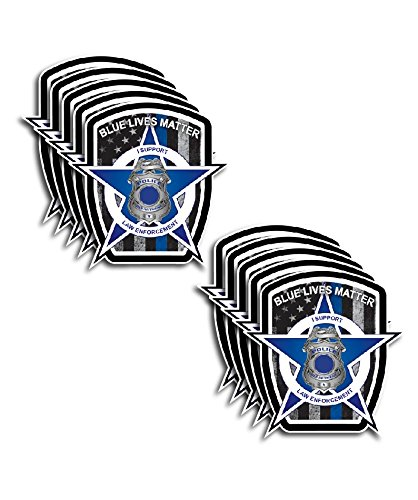 Pack of 10 Thin Blue Line Blue Lives Matter Badge USA Flag Police Car Truck Decal ()