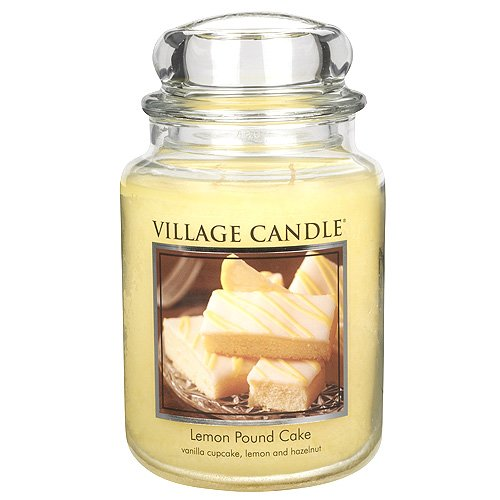 Village Candle Lemon Pound Cake 26 oz Glass Jar Scented Candle, (Large Cake Candle)