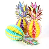Colorful Pineapple Shape Paper Honeycomb Balls Table Centerpiece Summer Beach Tropical Party Decoration SUNBEAUTY 3 Pieces