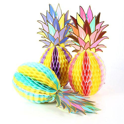 Colorful Pineapple Shape Paper Honeycomb Balls Table Centerpiece Summer Beach Tropical Party Decoration SUNBEAUTY 3 Pieces