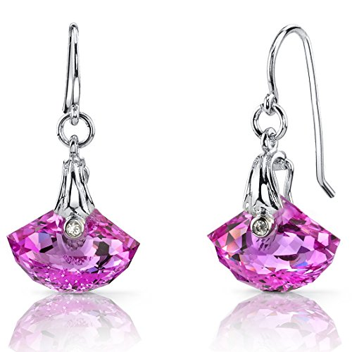 1300-Carats-Created-Pink-Sapphire-Earrings-Sterling-Silver-Rhodium-Nickel-Finish-Shell-Cut