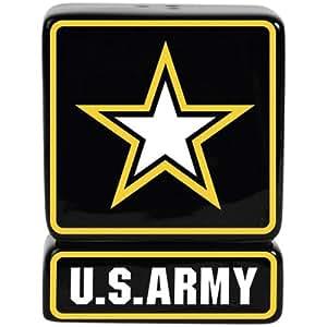 Westland Giftware Ceramic Magnetic Salt and Pepper Shaker Set, U.S. Army Star, 3.25-Inch, Set of 2