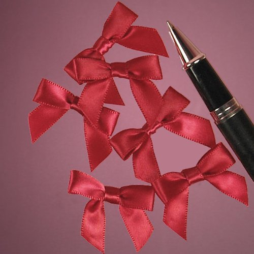 Mini Red Satin Bows - 1 3/8 x 1 - 50 Pack (Flocked Bow)
