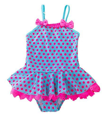 WEONEDREAM Cute Swimsuit for Kids Girls One Piece Swimsuits Polka Dot Peplum Bathing Suits Size 5T/6 7/8 6X Ruffle Finding Beachwear Pool Party Sport Star Wars Retro Cheap Medium (Blue, 30) - Girls 6 6x Swimsuit