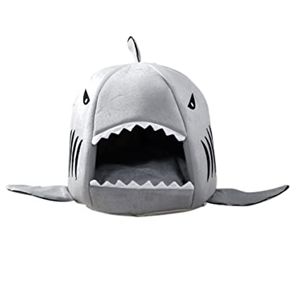 Crewell Cama grande para cachorros de perro y gato pequeño, diseño de tiburón con boca