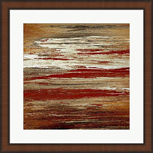 Seated Sunset by Roberto Gonzalez Framed Art Print Wall Picture, Brown Teak Frame, 20 x 20 inches ()
