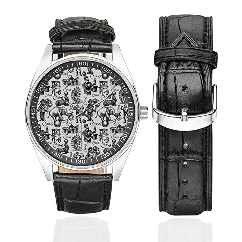 Modern Decor Casual Leather Strap Watch,Circus Quote and Themed Continous Pattern with Magician Baloons Artwork for Men,Case Diameter:1.57