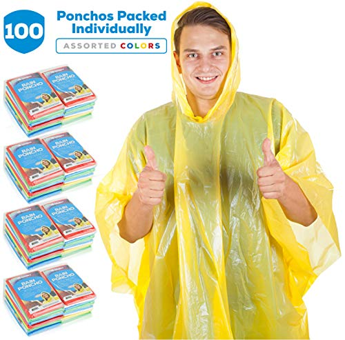Wealers Rain Ponchos for Adults Teens Disposable Rain Poncho Bulk Pack for Women Men Emergency Raincoat for Large Groups Theme Parks Camping Outdoors Multi Colors Waterproof Rain Ponchos (100 Pack)