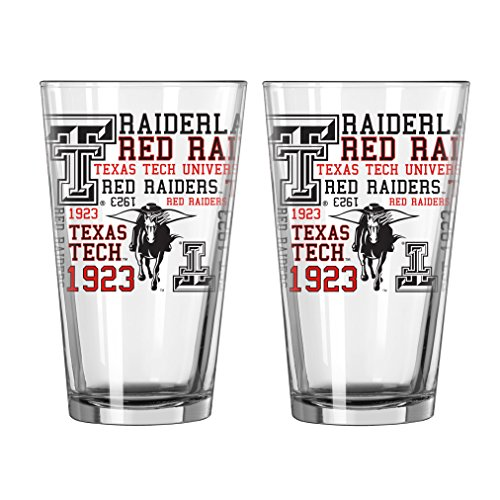 NCAA Texas Tech Red Raiders Pint Glass, 16-ounce, 2-Pack (Tech Raiders Texas Red Glass)