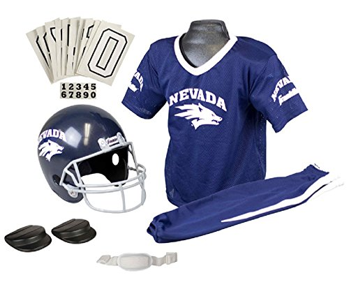 Franklin Sports NCAA Nevada Wolfpack Deluxe Youth Team Uniform Set Small - Football Player Costume For Kids
