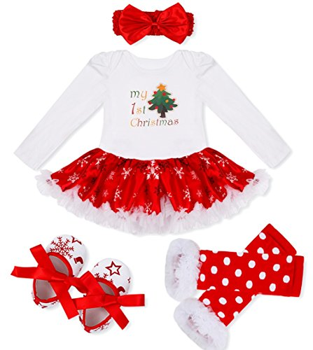 FEESHOW Baby Girl My First Christmas Tutu Outfit Dress Leg Warmer Shoes Headband White Red Tree 3-6 Months